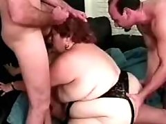 Horny BBW drinks fresh cum in orgy bbw mpegs
