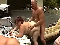 Guys fuck lustful fat women outdoor