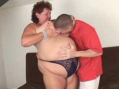 Lewd obese woman spoils amateur guy