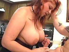 Busty plump milf sucking in kitchen bbw mpegs