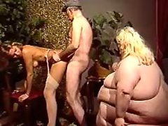 Huge fat woman has fun in wild orgy