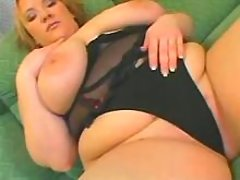 Fat blonde woman relaxes on sofa bbw mpegs