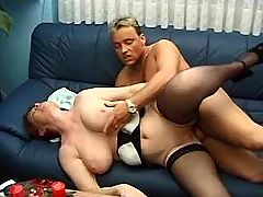 Man fucks plump redhead milf on sofa