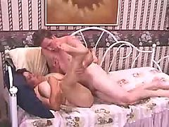 Chubby chick fucking hard with old dude on bed