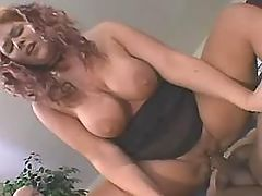 Ebony chubby lady enjoys oral sex with friend