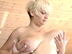 Blonde milf lubes up her breasts bbw mpegs