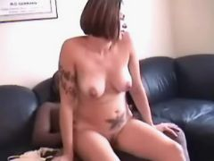 Pregnant cutie rides chocolate cock