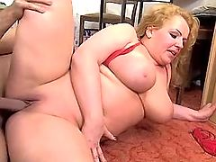 Breasty fat milf gets cum on appetizing boobs