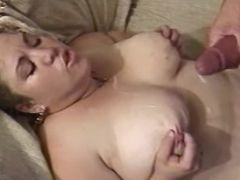 Chubby milf gets cum on big tits bbw mpegs