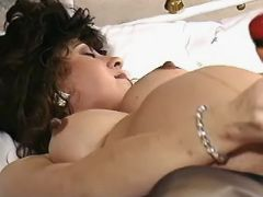 Pregnant mature masturbates in bed